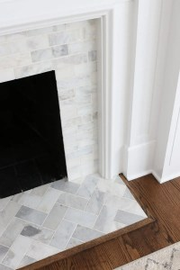 Marble Herringbone Tile Fireplace - Tile Designs