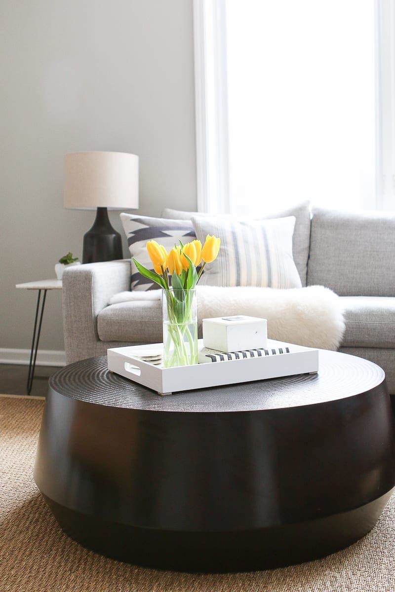 tips to style a round coffee table in