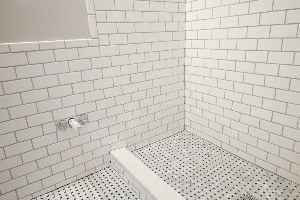 lay marble basketweave floor tile