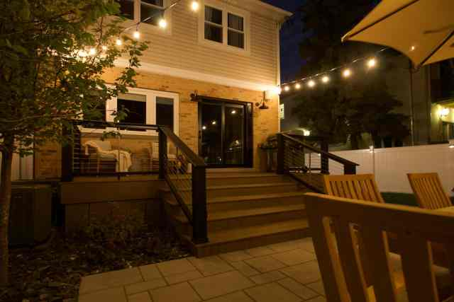 Our cozy patio at night