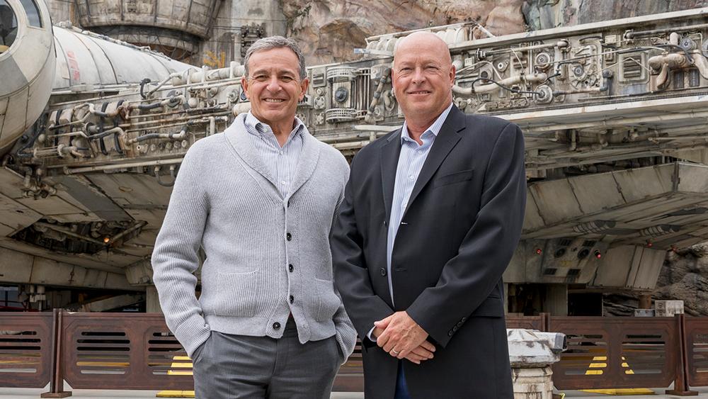 Bob Iger with new Disney CEO Bob Chapek