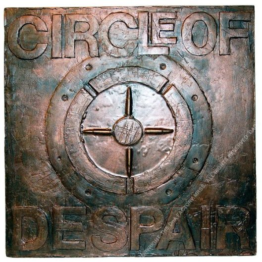 CIRCLE OF DESPAIR. Cast & Sculpted Resin, Wood, Paint, Metal Powders, Glazes. 60 x 60 x 7 cm. 2020. 1/1