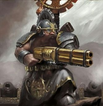 Bearded dwarf holding a big steampunk gun.