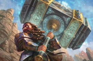 Dwarven warrior wielding a giant warhammer several times his size.