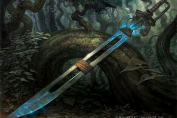 Blue magic greatsword with a hollow blade