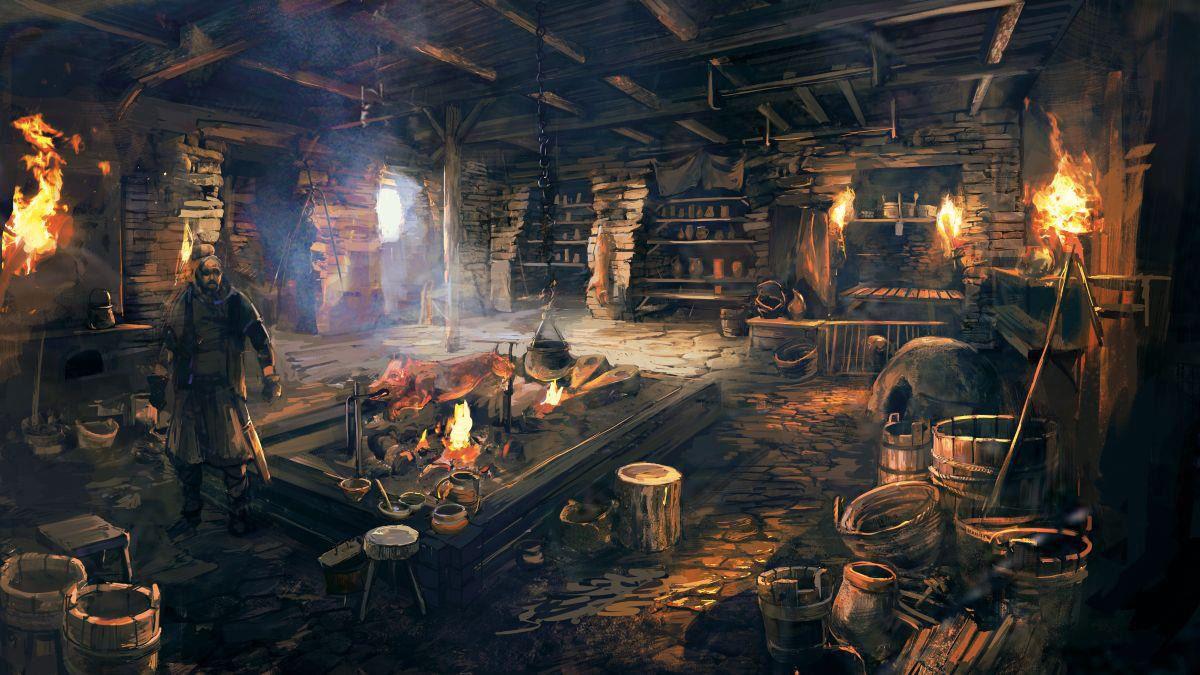 Inside a medieval smithy