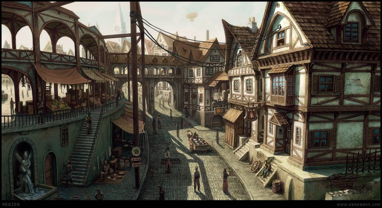 Fancy medieval town with a tavern.