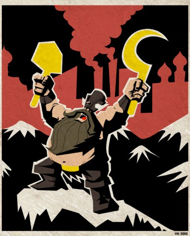 A heavily bearded dwarf on a communist style poster