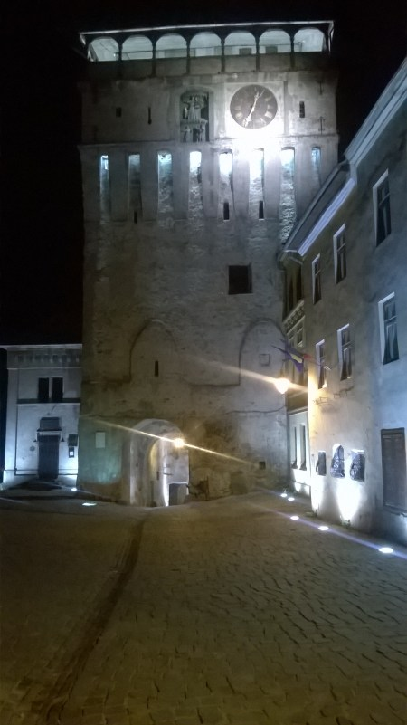 The Clock Tower in Sighișoara during the night.