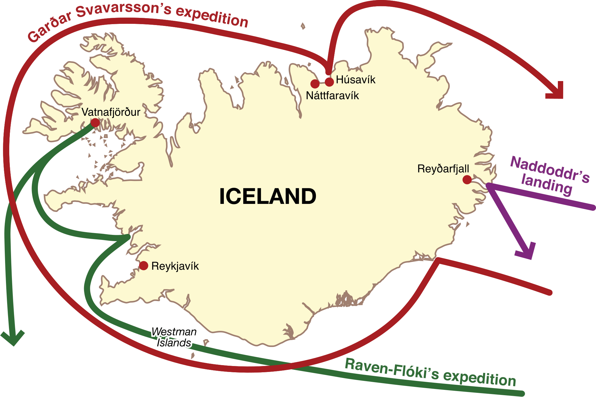 The norse discovery and settlement of iceland during the viking age map highlighting the norse expeditions to iceland during the 9th century image source commonsmedia gumiabroncs Gallery