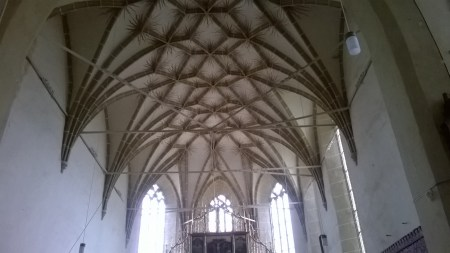 The ceiling inside the Lutheran church
