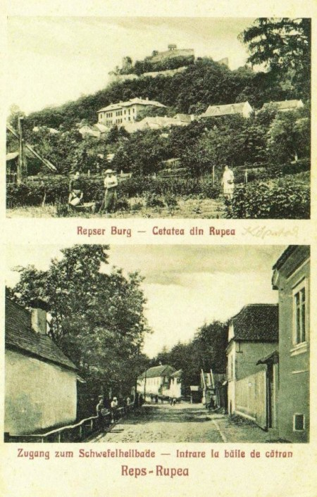 Bilingual Romanian-German postcard of the city of Rupea/Reps.