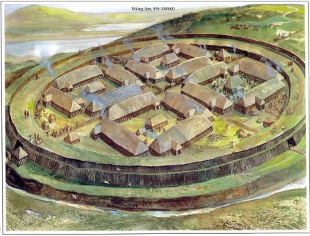 An artistic depiction of a Viking Age ring fortress. Image source: www.pinterest.com