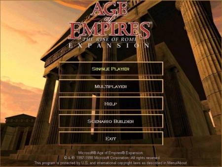 Age of Empires I: The Rise of Rome loading menu. Image source: www.youtube.com