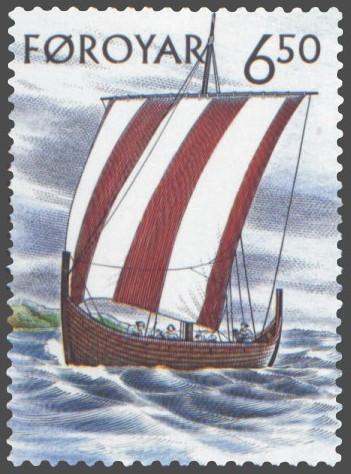 Faroese stamp illustrating a Viking Age longboat -- known as 'drakkar'. Image source: www.wikimedia.org