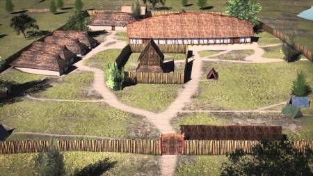 3D reconstruction of the Viking Age settlement of ... on the western brink of the lake. Image source: www.youtube.com