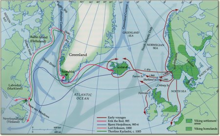 Map showcasing the voyages of the Norwegian Vikings westward towards the British Isles, the Faroes, Iceland, Greenland and Canada. Image source: www.vikingexplorer.wordpress.com
