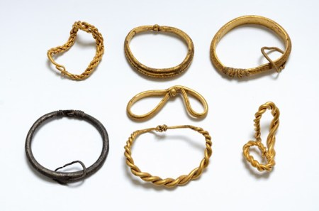 The seven Viking Age bracelets discovered in Vejen municipality, southern Jutland. Image source: www.viking-archaeology-blog.blogspot