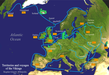 Detailed map of trade routes and territorial possessions of the Norsemen during the Viking Age. Map designed by Bogdan Giușcă for Wikipedia in 2005. Image source: www.commons.wikimedia.org