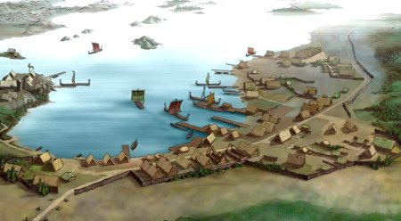 Artistic depiction of the dockyards at Kaupang, south-eastern Norway, during the Viking Age. Image source: www.theslayerrune.blogspot