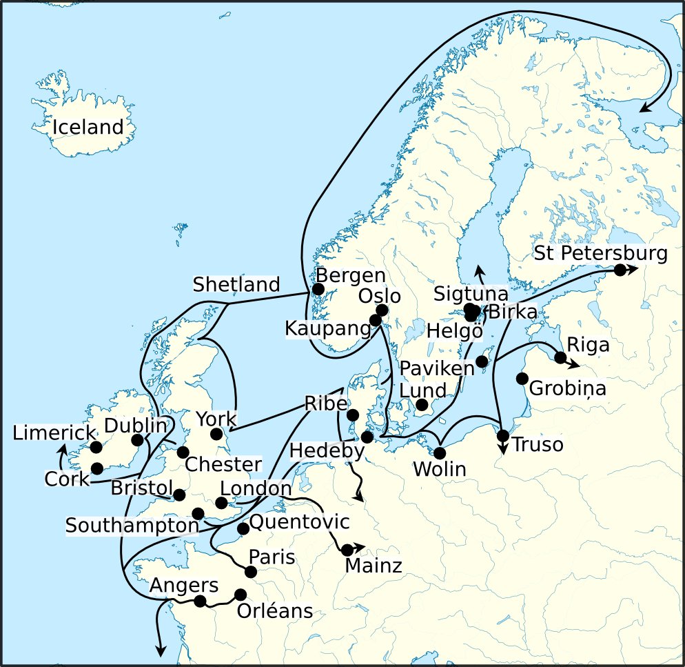 detailed map depicting the trade routes of the norsemen in northern and western europe image