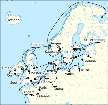 Detailed map depicting the trade routes of the Norsemen in Northern and Western Europe. Image source: www.commons.wikimedia.org