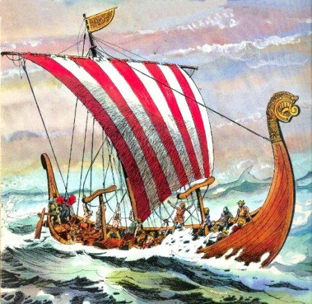 Artistic depiction of a Viking Age longship, commonly referred to as 'drakkar'. Image source: www.france-pittoresque.com