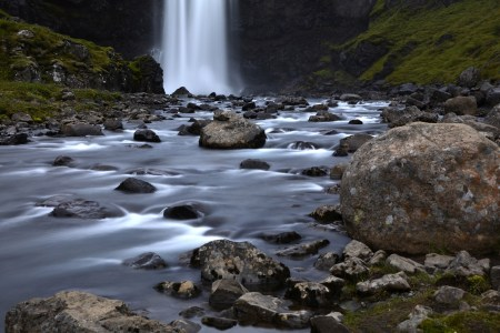 Gufufoss waterfall near Seyðisfjörður, eastern Iceland.