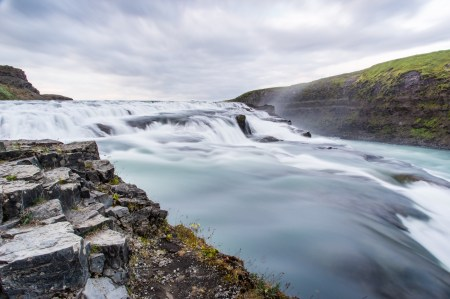 Waterfall at Þingvellir (Thingvellir) National Park in southwestern Iceland.