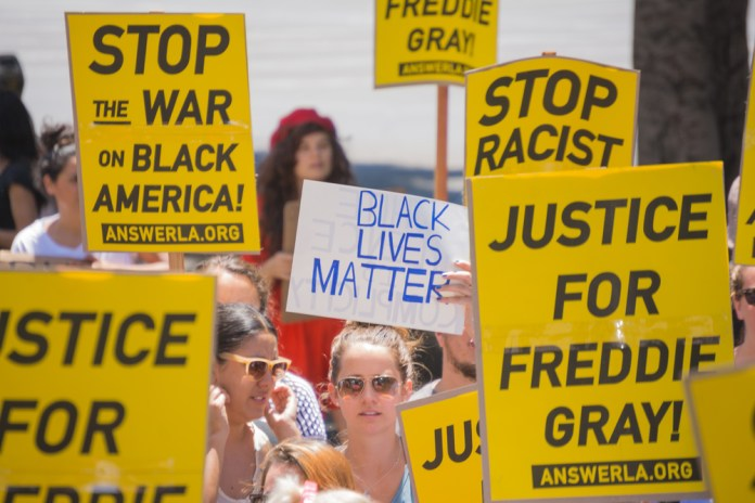 Black lives matter protesters with signs (1000 x 667)