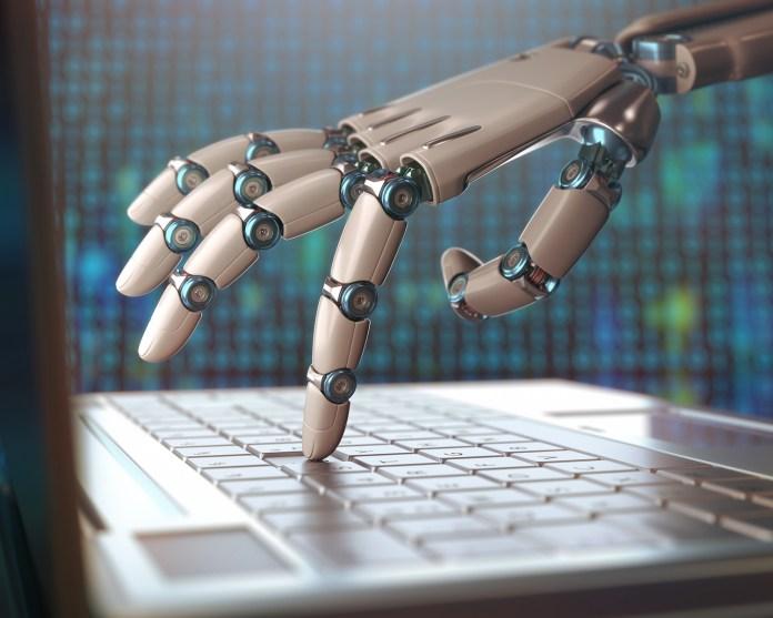 Robotic hand on computer 1500 x 1200