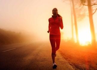 woman running in morning