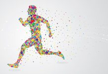 Colorful graphic of man running 1024 x 701