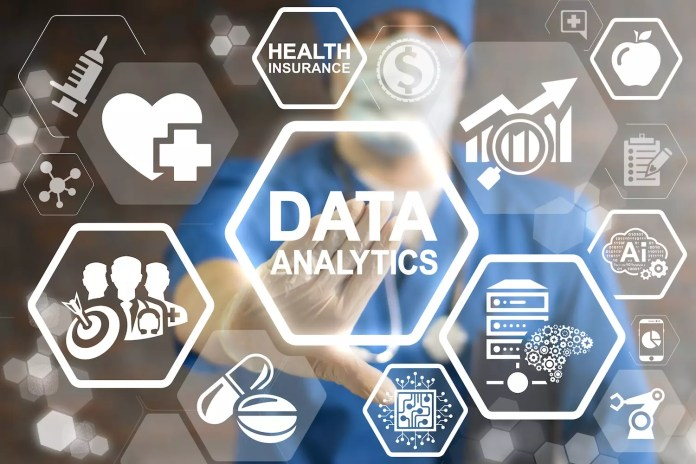 Doctor pressing data analytics button on virtual touch screen.1500 x 1000