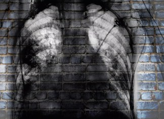 X-ray of chest on the brick wall, concept of social trouble 2121 x 1414