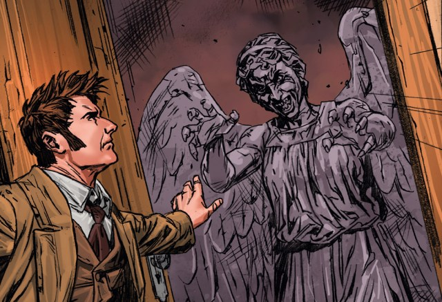 The Tenth Doctor faced the Weeping Angels in WW1 during the comic-strip story, The Weeping Angels of Mons.