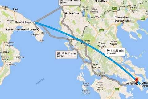 ZORBA THE GREEK | #AtoZChallenge Brindisi to Athens map