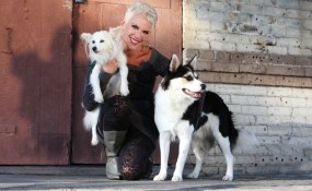 Author, Andi Brown with TDL's Holiday and Rascal