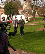 James (L) and Martin (R) filming the set up scene.