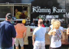 The line outside the Roaming Raven.