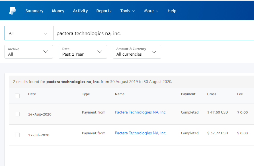 OneForma Payment Proof