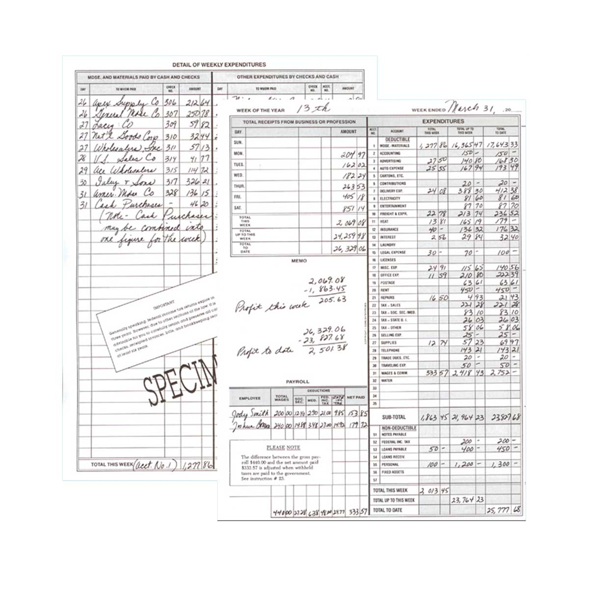 Dome Weekly Bookkeeping Record
