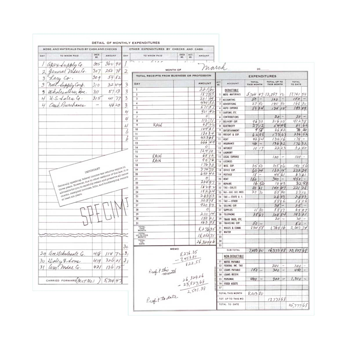 Dome Monthly Bookkeeping Record