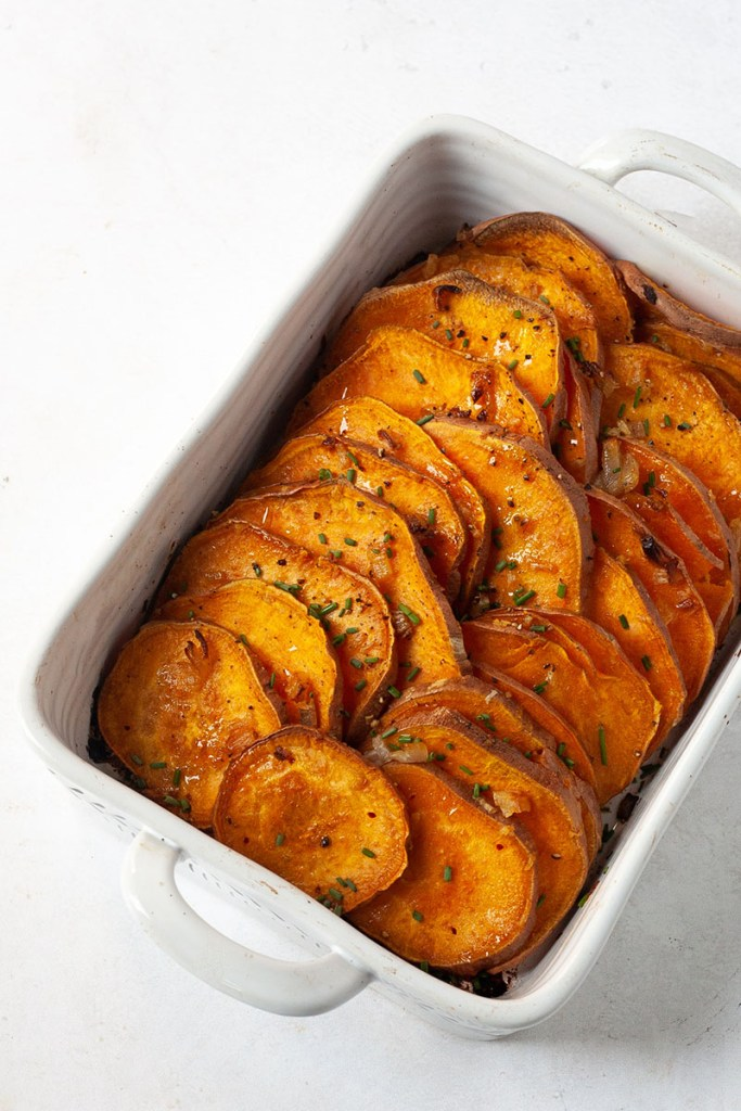 oven baked sweet potatoes with garlic oil recipe