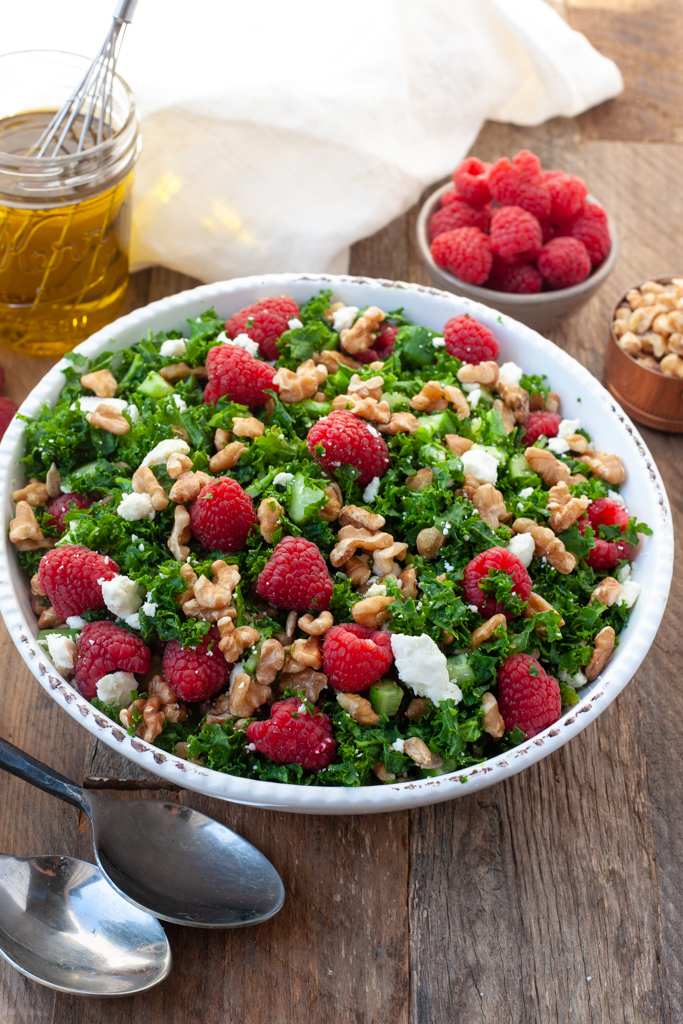 bowl of raspberry walnut salad