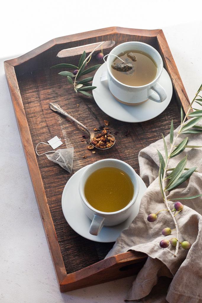tray of green tea for green Mediterranean diet study