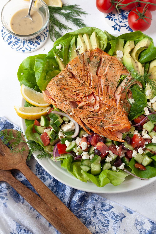 simple greek salad with air fryer salmon
