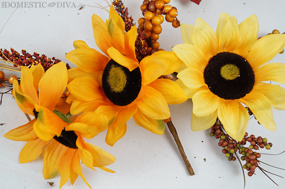 Sunflower Picks for Fall Wreaths at Walmart