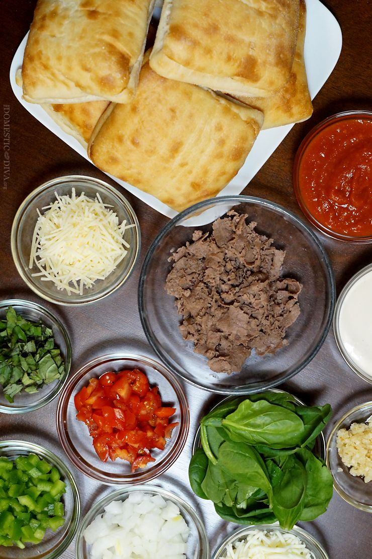 3 Mini Ciabatta Pizza Recipes for Game Day :: Margherita, Spinach & Garlic, Philly Cheese Steak