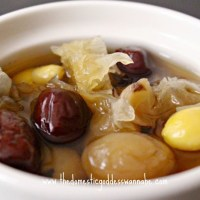 snow fungus, red date, longan and gingko (dessert) soup